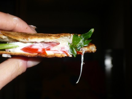 Grilled tortilla sandwich - yummy!